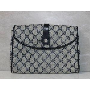 Vintage Gucci Navy Clutch Shoulder Bag